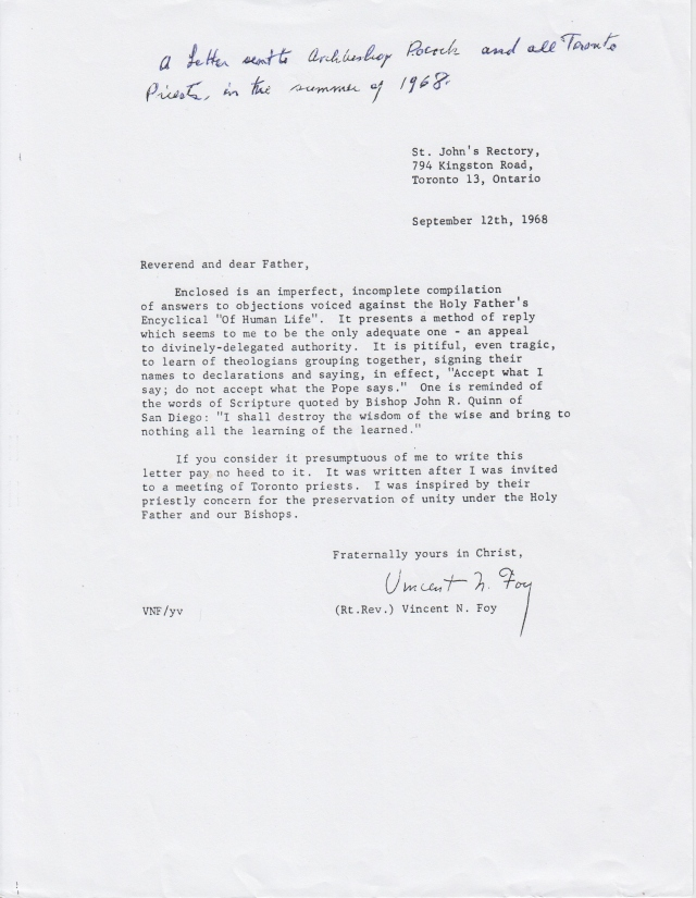 Letter to Archbishop Pocock  and all Toronto Priests, Summer 1968
