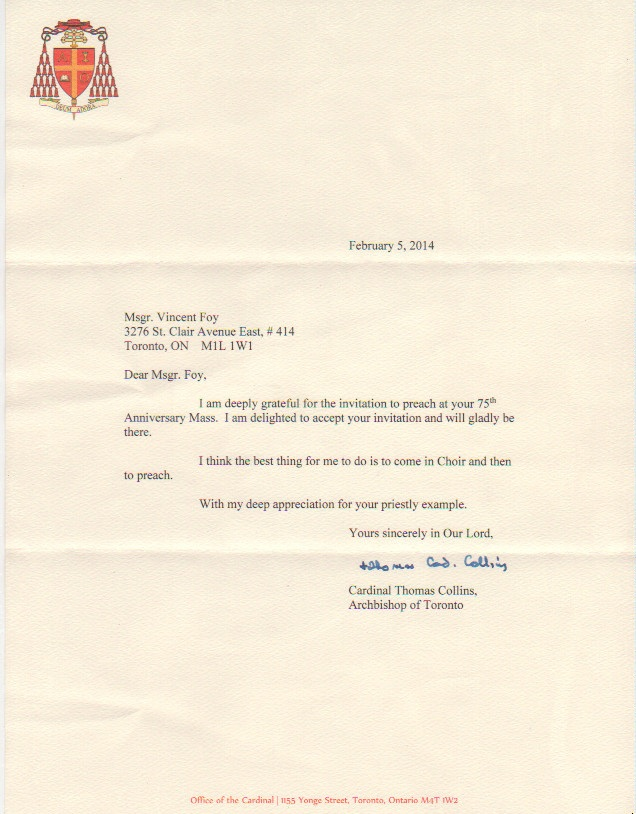 Letter from Cardinal Collins