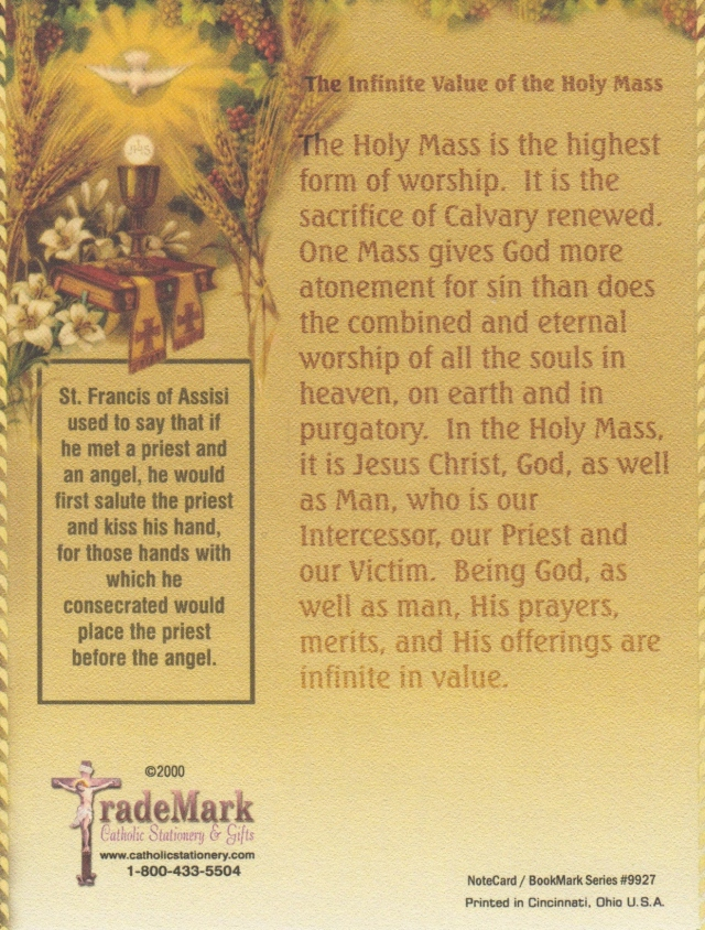 """The Infinite Value of the Holy Sacrifice of the Mass"""