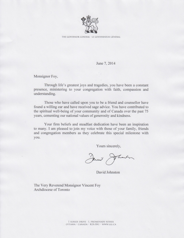 Governor General Letter to Msgr. Foy, June 7 2014