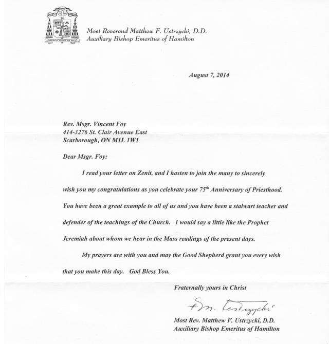 2014 Letter from Bishop Ustrzycki