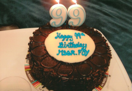 "Beginning my 100th year, One of my ""Happy 99th Birthday cakes""."