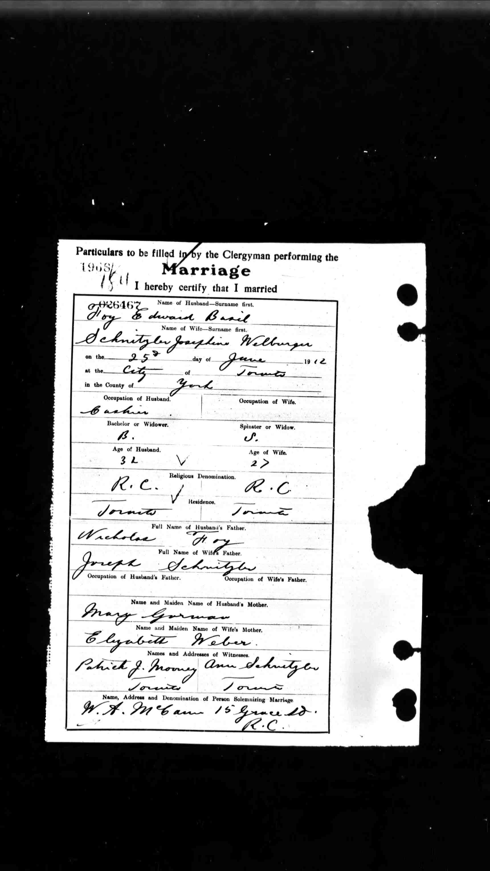 1912 My Parents Marriage Certificate Selected Writings Of Rev