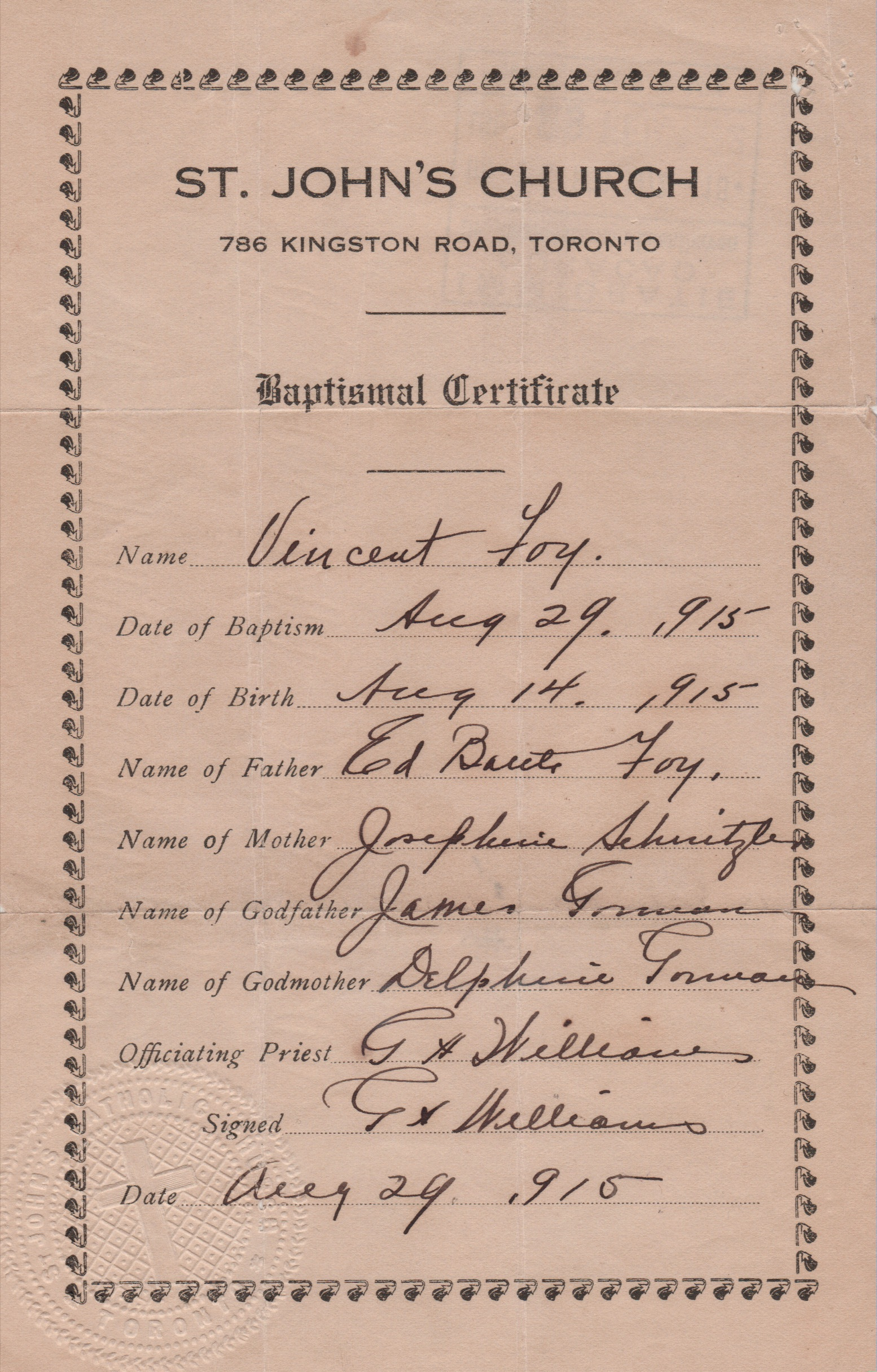 1915 Baptismal Certificate Of Vincent Foy Selected Writings Of Rev