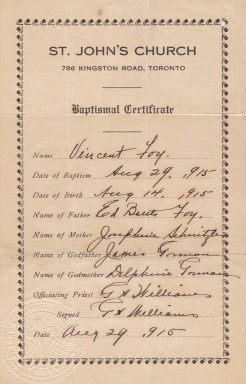 1915 Baptismal Certificate (Fr Williams was 1st priest buried St. Augustine's Seminary)