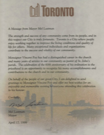 1999 Letter of commendation from Mayor of Toronto