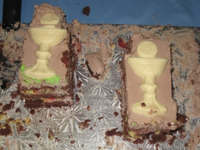 2009 homemade chocolate chalices on cake
