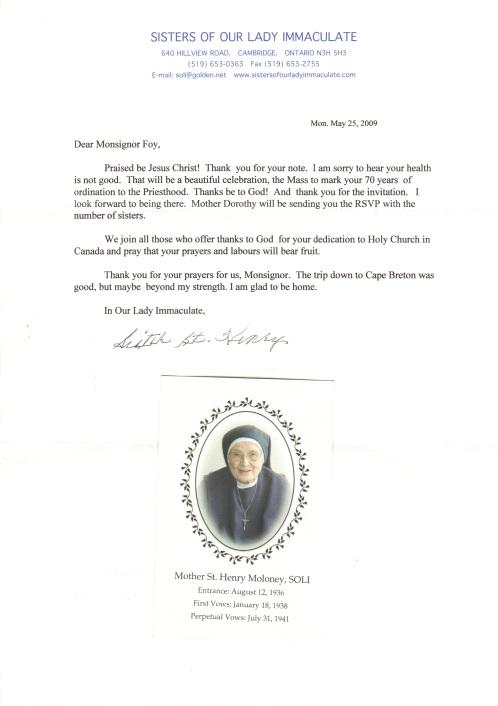Letter from Sr St Henry