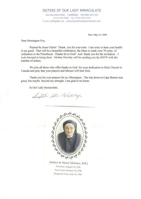 Letter Sr St Henry