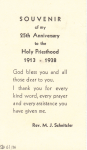 1938 Fr. Schnitzler's 25th Ordination Anniversary