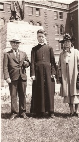 1938 My father Edward Basil Foy, Deacon Vincent Nicholas Foy, Josephine Walburgis (nee Schnitzler) Foy, at St. Augustine's Seminary
