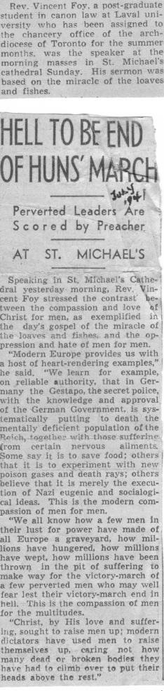 1941 Homily, Toronto Star
