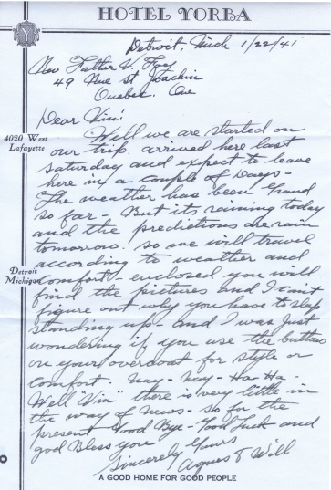 1941 Letter form Aunt Agnes and Uncle Will